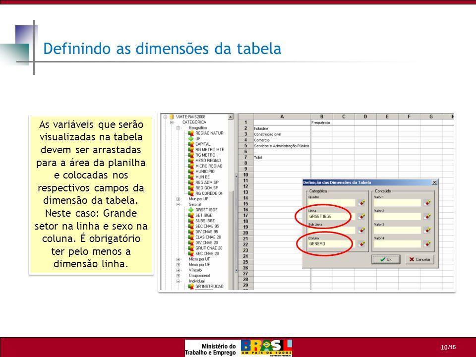 /15 10 As variáveis que serão visualizadas na tabela devem ser arrastadas para a área da planilha e colocadas nos respectivos campos da dimensão da ta