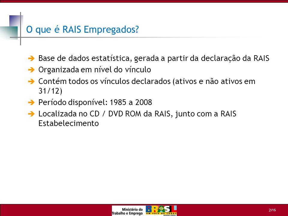 /15 2 O que é RAIS Empregados? Base de dados estatística, gerada a partir da declaração da RAIS Organizada em nível do vínculo Contém todos os vínculo