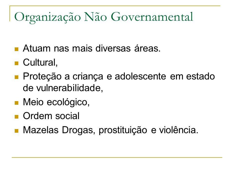 Organização Não Governamental Atuam nas mais diversas áreas. Cultural, Proteção a criança e adolescente em estado de vulnerabilidade, Meio ecológico,