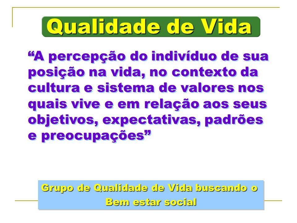 Qualidade de Vida A percepção do indivíduo de sua posição na vida, no contexto da cultura e sistema de valores nos quais vive e em relação aos seus ob