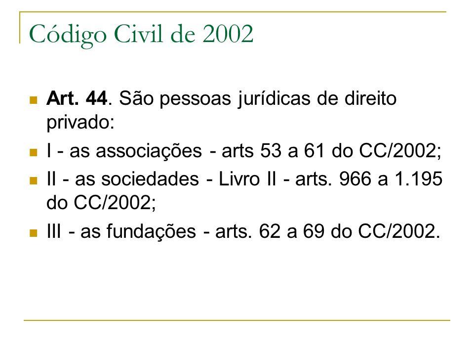 Código Civil de 2002 Art. 44. São pessoas jurídicas de direito privado: I - as associações - arts 53 a 61 do CC/2002; II - as sociedades - Livro II -
