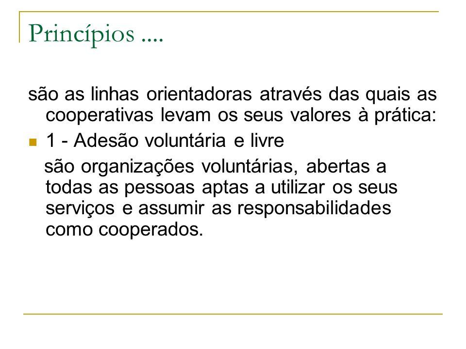 Princípios.... são as linhas orientadoras através das quais as cooperativas levam os seus valores à prática: 1 - Adesão voluntária e livre são organiz