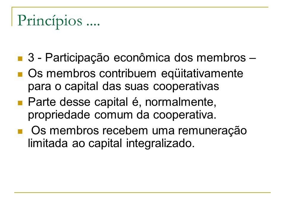 Princípios.... 3 - Participação econômica dos membros – Os membros contribuem eqüitativamente para o capital das suas cooperativas Parte desse capital