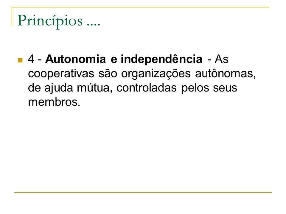 Princípios.... 4 - Autonomia e independência - As cooperativas são organizações autônomas, de ajuda mútua, controladas pelos seus membros.
