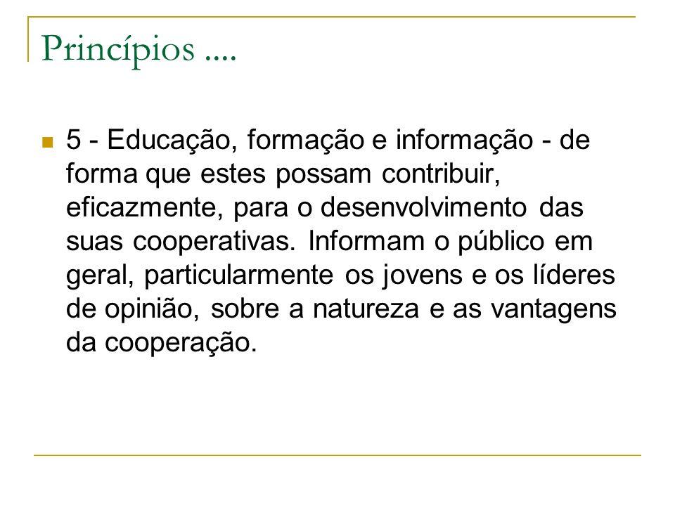 Princípios.... 5 - Educação, formação e informação - de forma que estes possam contribuir, eficazmente, para o desenvolvimento das suas cooperativas.
