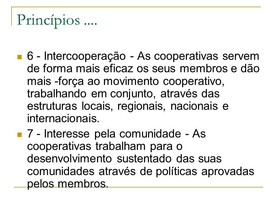 Princípios.... 6 - Intercooperação - As cooperativas servem de forma mais eficaz os seus membros e dão mais -força ao movimento cooperativo, trabalhan