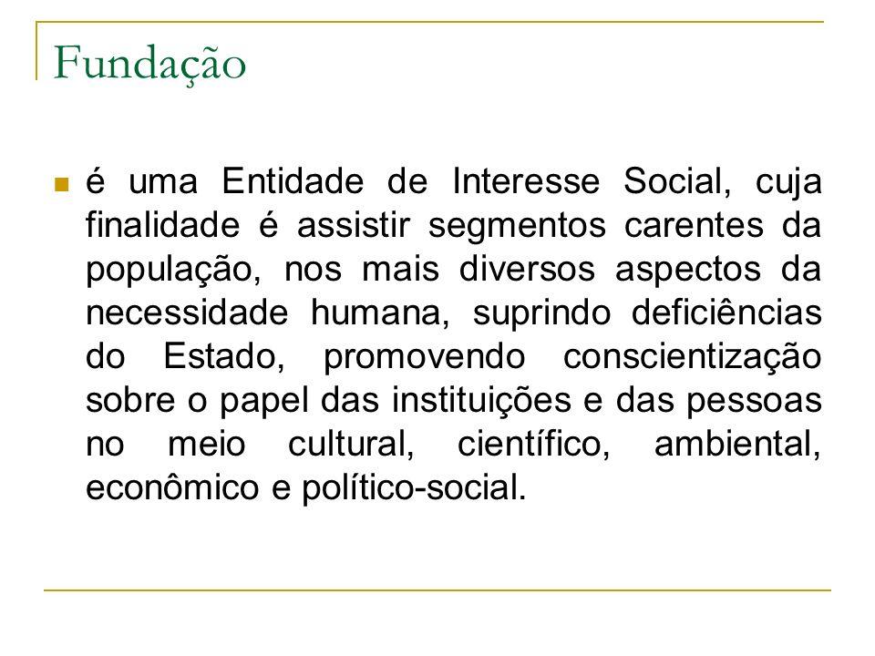 Fundação é uma Entidade de Interesse Social, cuja finalidade é assistir segmentos carentes da população, nos mais diversos aspectos da necessidade hum