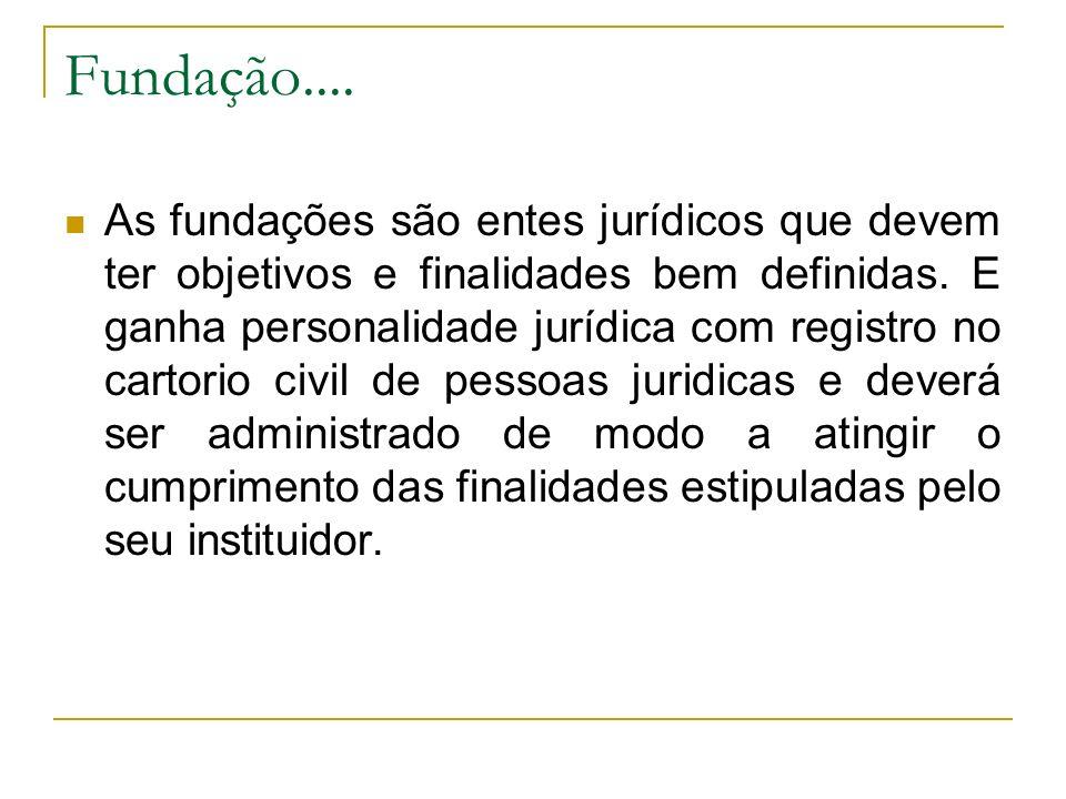 Fundação.... As fundações são entes jurídicos que devem ter objetivos e finalidades bem definidas. E ganha personalidade jurídica com registro no cart