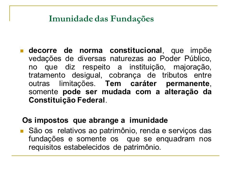 Imunidade das Fundações decorre de norma constitucional, que impõe vedações de diversas naturezas ao Poder Público, no que diz respeito a instituição,