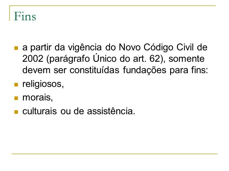 Fins a partir da vigência do Novo Código Civil de 2002 (parágrafo Único do art. 62), somente devem ser constituídas fundações para fins: religiosos, m