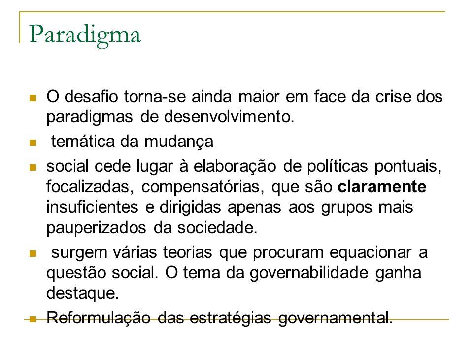 Paradigma O desafio torna-se ainda maior em face da crise dos paradigmas de desenvolvimento. temática da mudança social cede lugar à elaboração de pol