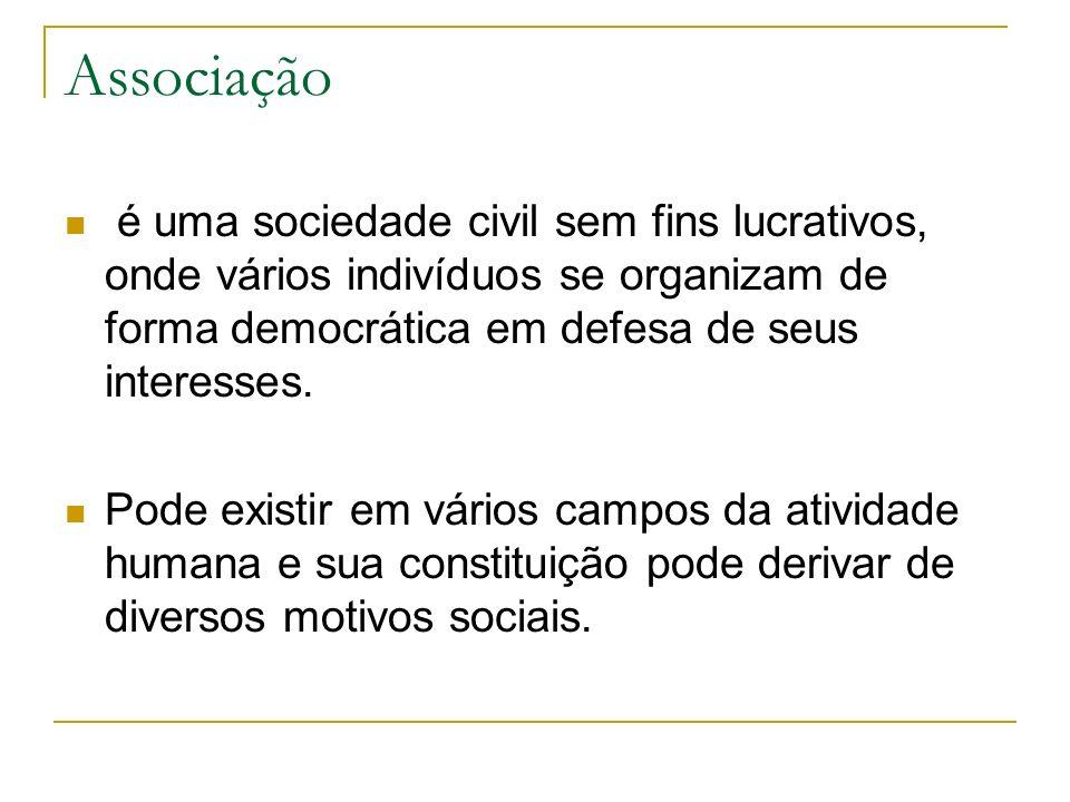 Associação é uma sociedade civil sem fins lucrativos, onde vários indivíduos se organizam de forma democrática em defesa de seus interesses. Pode exis