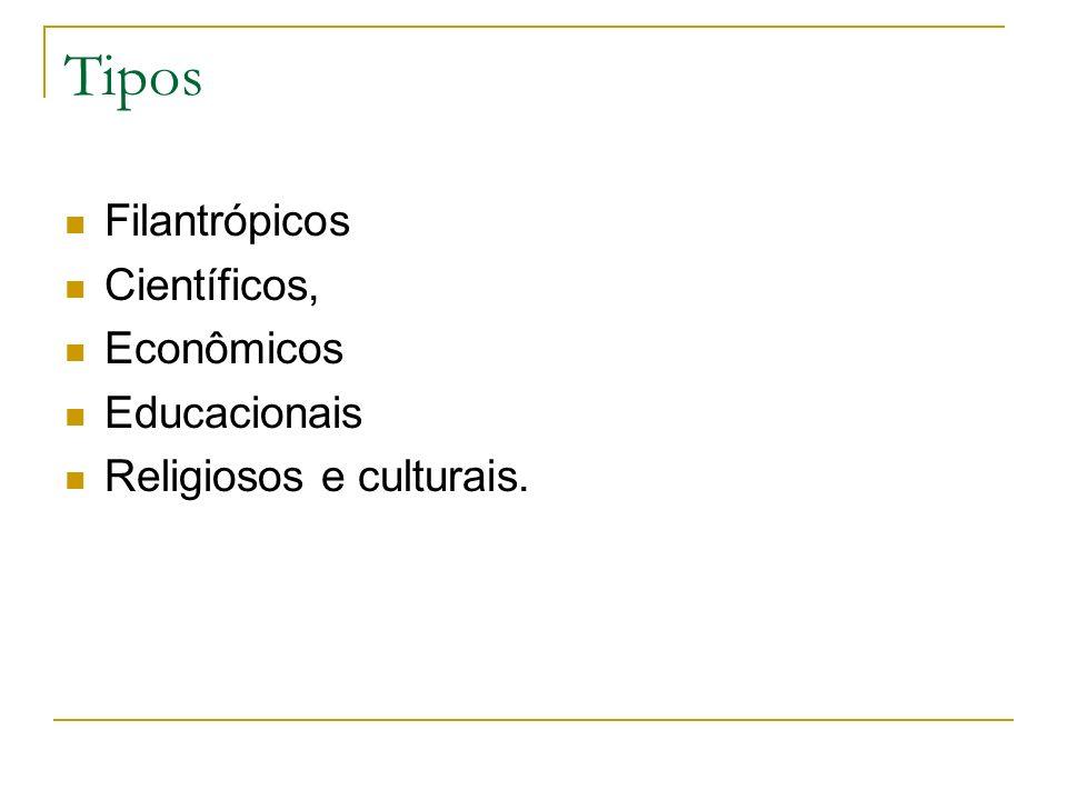 Tipos Filantrópicos Científicos, Econômicos Educacionais Religiosos e culturais.