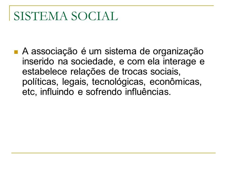 SISTEMA SOCIAL A associação é um sistema de organização inserido na sociedade, e com ela interage e estabelece relações de trocas sociais, políticas,