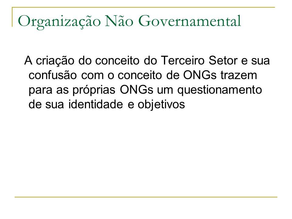 Organização Não Governamental A criação do conceito do Terceiro Setor e sua confusão com o conceito de ONGs trazem para as próprias ONGs um questionam