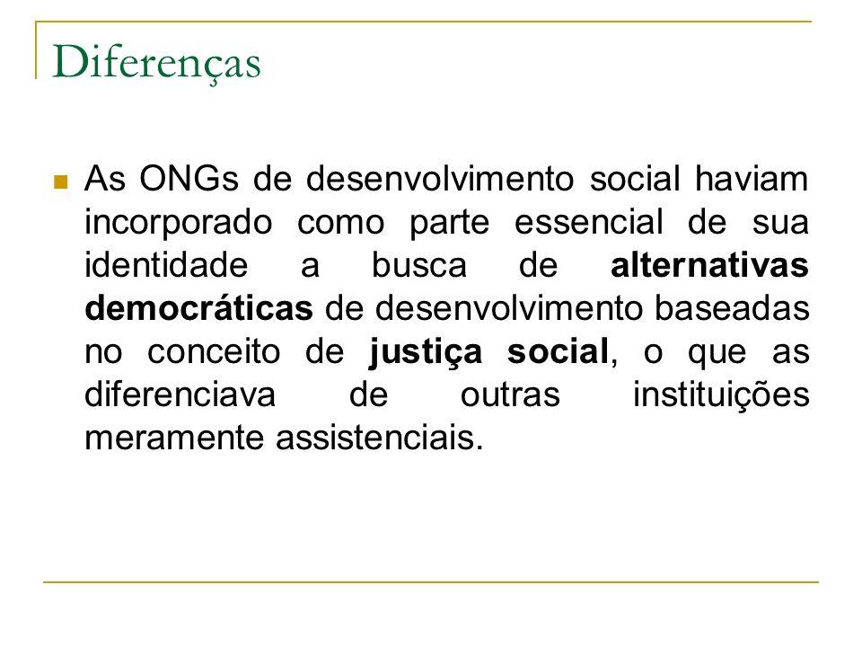 Diferenças As ONGs de desenvolvimento social haviam incorporado como parte essencial de sua identidade a busca de alternativas democráticas de desenvo
