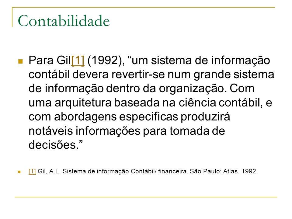 Contabilidade Para Gil[1] (1992), um sistema de informação contábil devera revertir-se num grande sistema de informação dentro da organização. Com uma