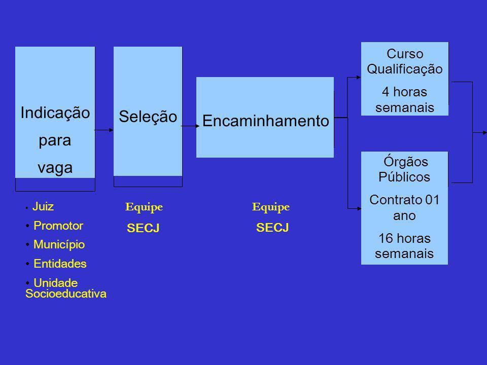 Indicação para vaga Seleção Encaminhamento Curso Qualificação 4 horas semanais Órgãos Públicos Contrato 01 ano 16 horas semanais Juiz Promotor Municíp