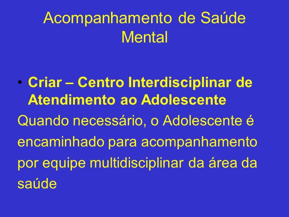 Acompanhamento de Saúde Mental Criar – Centro Interdisciplinar de Atendimento ao Adolescente Quando necessário, o Adolescente é encaminhado para acomp