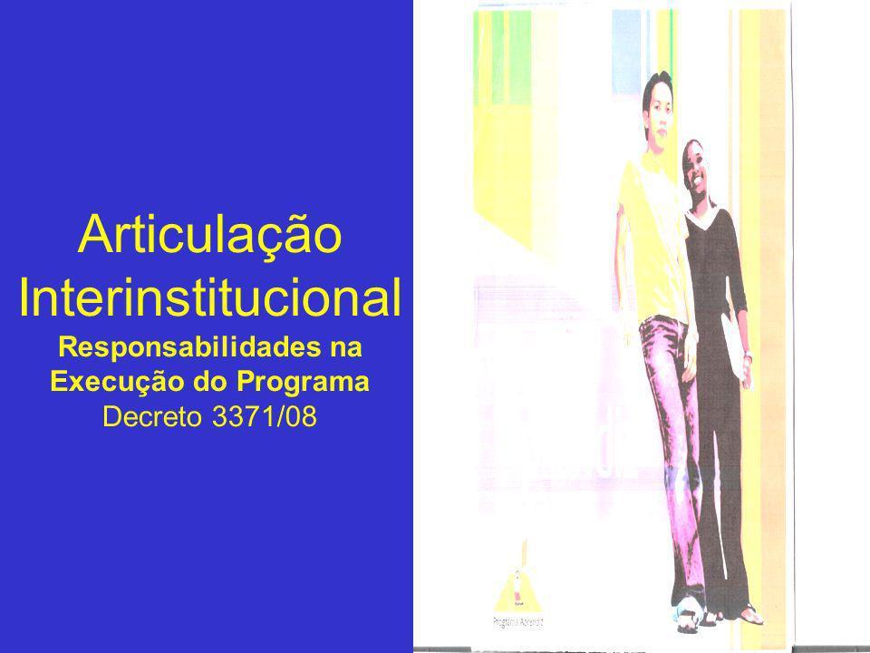 Articulação Interinstitucional Responsabilidades na Execução do Programa Decreto 3371/08