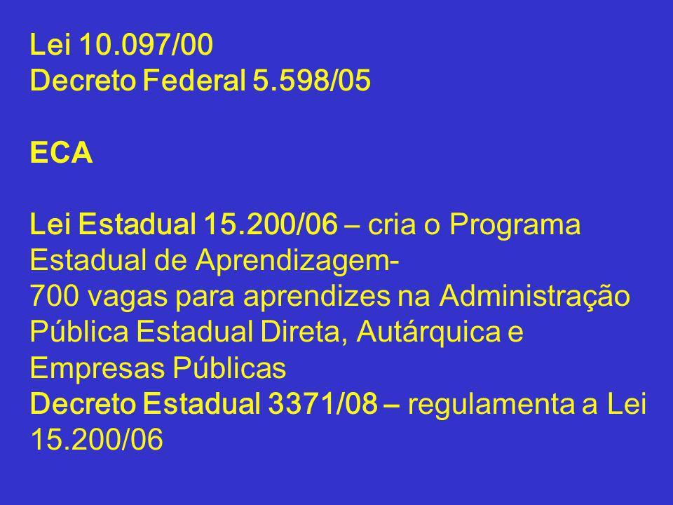Lei 10.097/00 Decreto Federal 5.598/05 ECA Lei Estadual 15.200/06 – cria o Programa Estadual de Aprendizagem- 700 vagas para aprendizes na Administraç