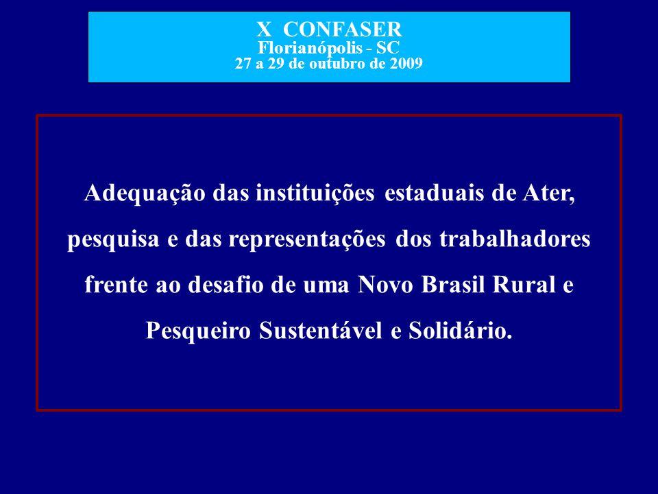 X CONFASER Florianópolis - SC 27 a 29 de outubro de 2009 Adequação das instituições estaduais de Ater, pesquisa e das representações dos trabalhadores
