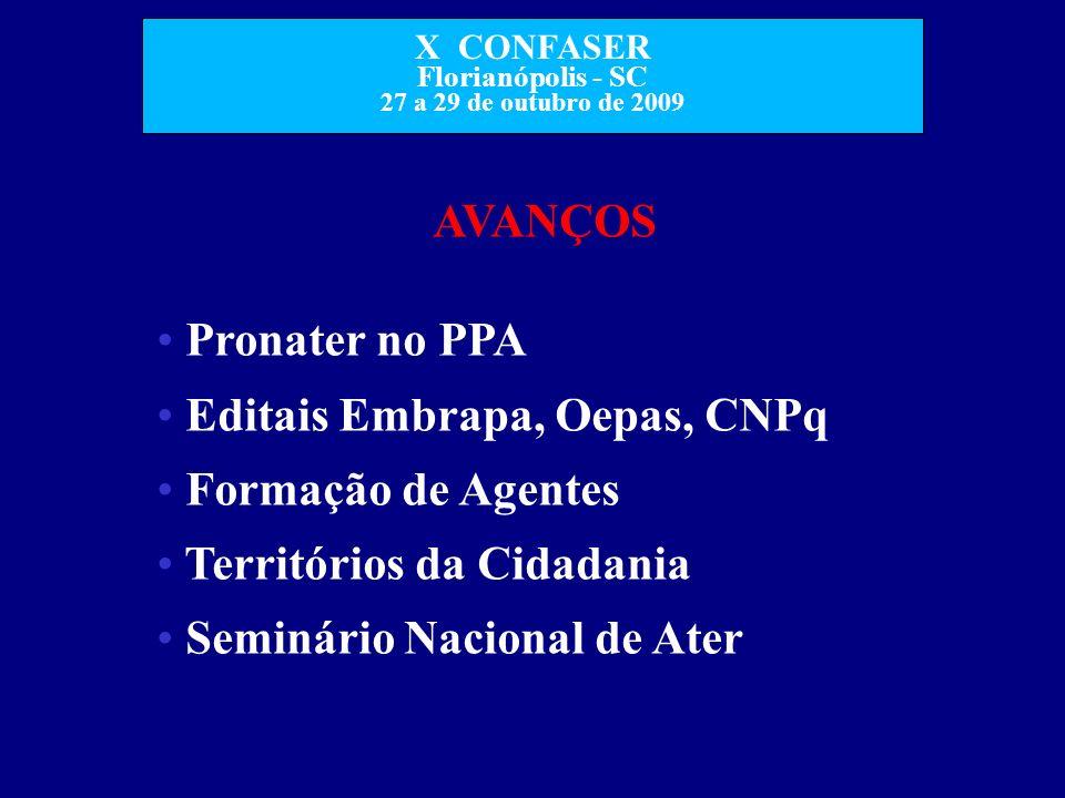 X CONFASER Florianópolis - SC 27 a 29 de outubro de 2009 AVANÇOS Pronater no PPA Editais Embrapa, Oepas, CNPq Formação de Agentes Territórios da Cidad