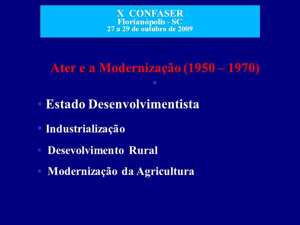 X CONFASER Florianópolis - SC 27 a 29 de outubro de 2009 Ater e a Modernização (1950 – 1970) Estado Desenvolvimentista Industrialização Desevolvimento