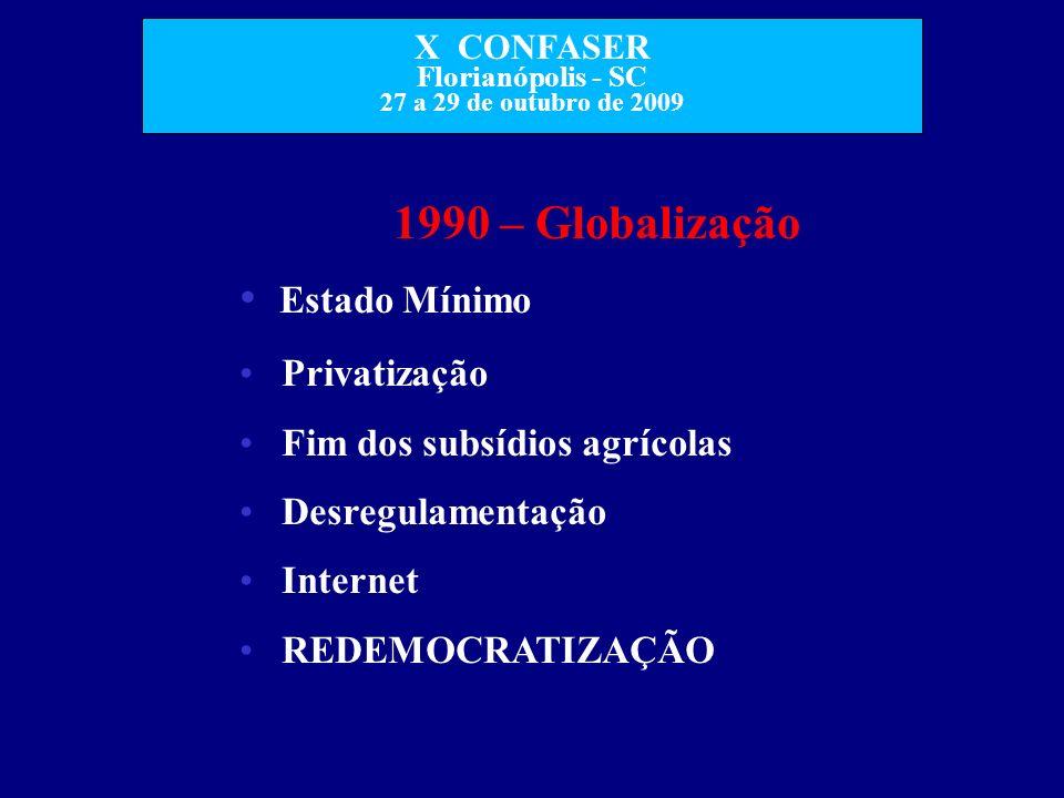 X CONFASER Florianópolis - SC 27 a 29 de outubro de 2009 1990 – Globalização Estado Mínimo Privatização Fim dos subsídios agrícolas Desregulamentação