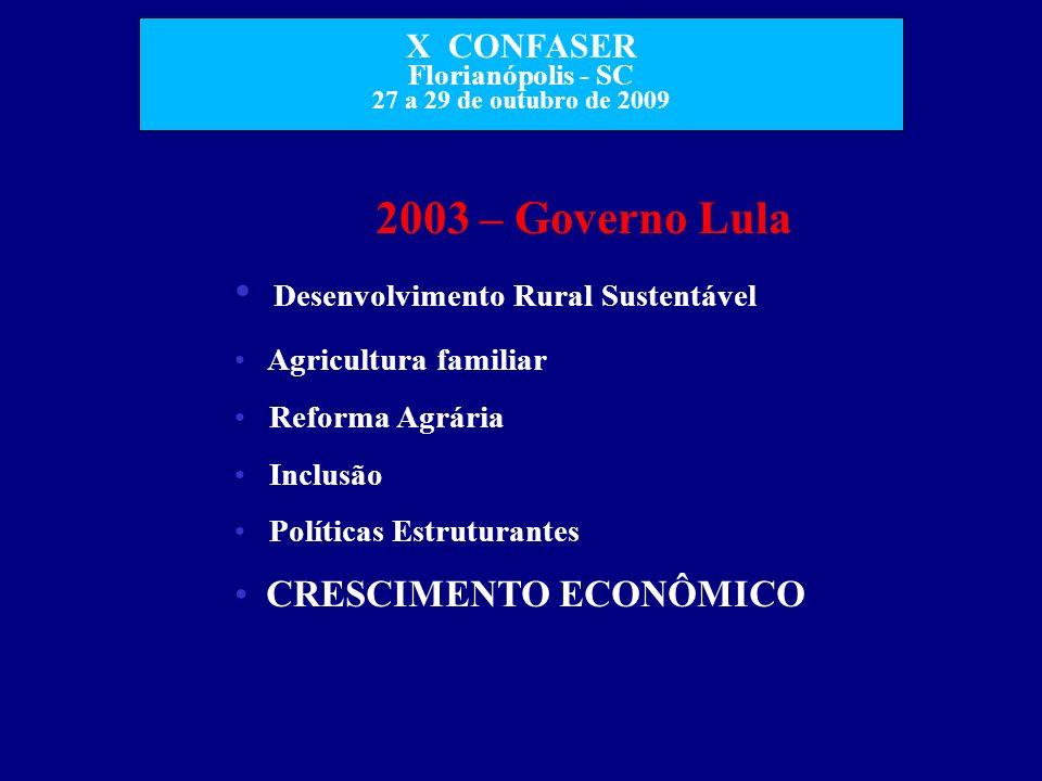 X CONFASER Florianópolis - SC 27 a 29 de outubro de 2009 2003 – Governo Lula Desenvolvimento Rural Sustentável Agricultura familiar Reforma Agrária In