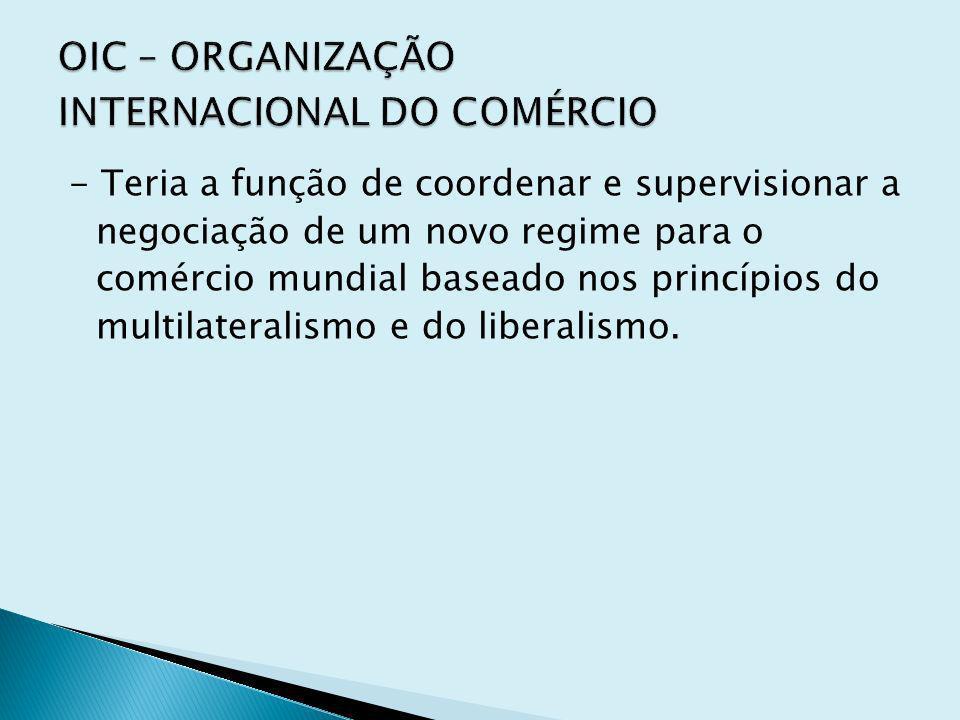 - Teria a função de coordenar e supervisionar a negociação de um novo regime para o comércio mundial baseado nos princípios do multilateralismo e do l