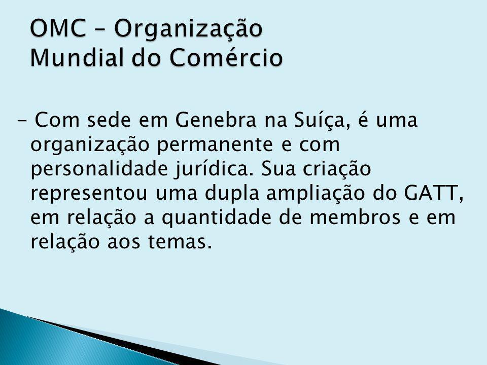 - Com sede em Genebra na Suíça, é uma organização permanente e com personalidade jurídica.
