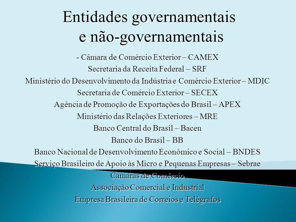 Entidades governamentais e não-governamentais - Câmara de Comércio Exterior – CAMEX Secretaria da Receita Federal – SRF Ministério do Desenvolvimento