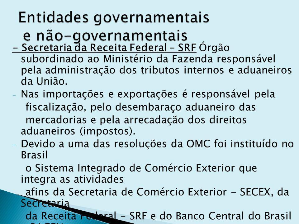 - Secretaria da Receita Federal – SRF Órgão subordinado ao Ministério da Fazenda responsável pela administração dos tributos internos e aduaneiros da União.