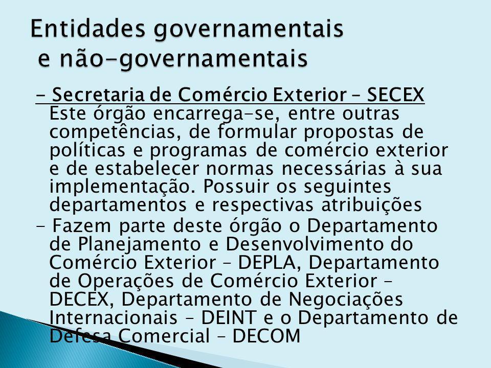 - Secretaria de Comércio Exterior – SECEX Este órgão encarrega-se, entre outras competências, de formular propostas de políticas e programas de comércio exterior e de estabelecer normas necessárias à sua implementação.