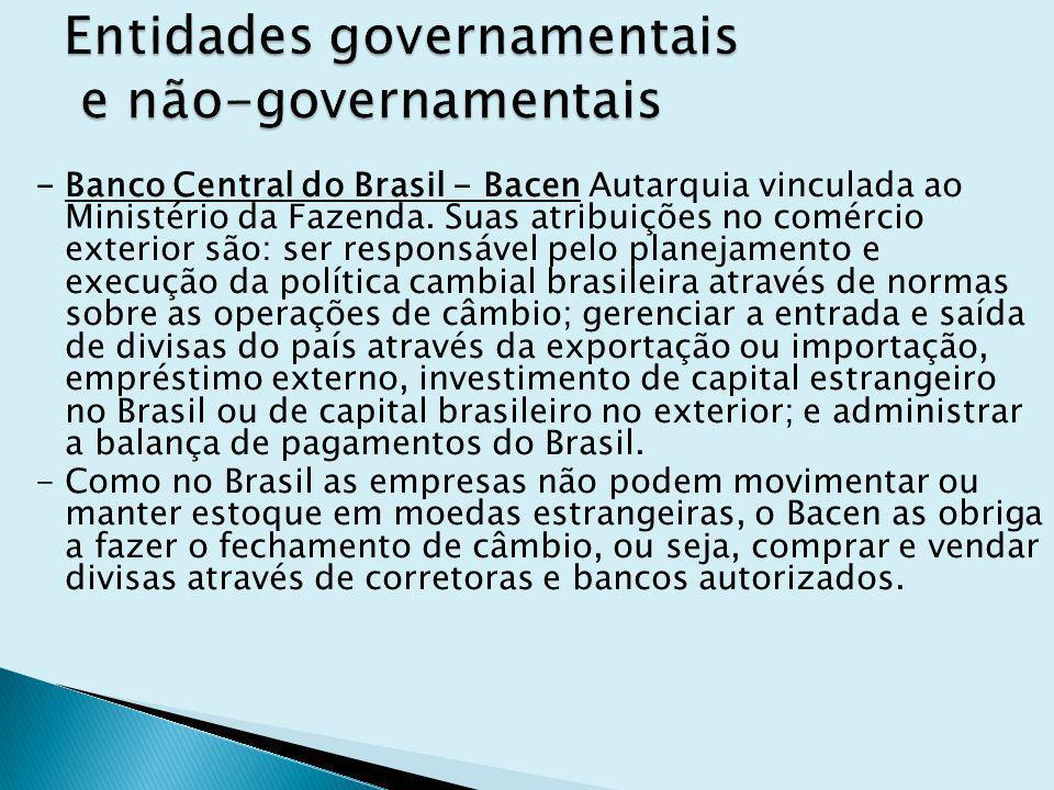 - Banco Central do Brasil - Bacen Autarquia vinculada ao Ministério da Fazenda. Suas atribuições no comércio exterior são: ser responsável pelo planej
