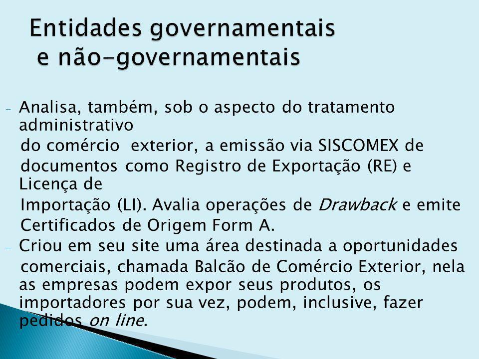 - Analisa, também, sob o aspecto do tratamento administrativo do comércio exterior, a emissão via SISCOMEX de documentos como Registro de Exportação (RE) e Licença de Importação (LI).