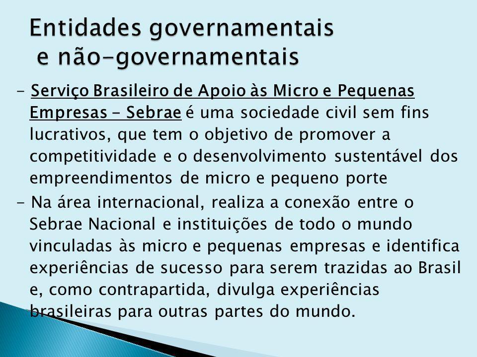 - Serviço Brasileiro de Apoio às Micro e Pequenas Empresas - Sebrae é uma sociedade civil sem fins lucrativos, que tem o objetivo de promover a compet