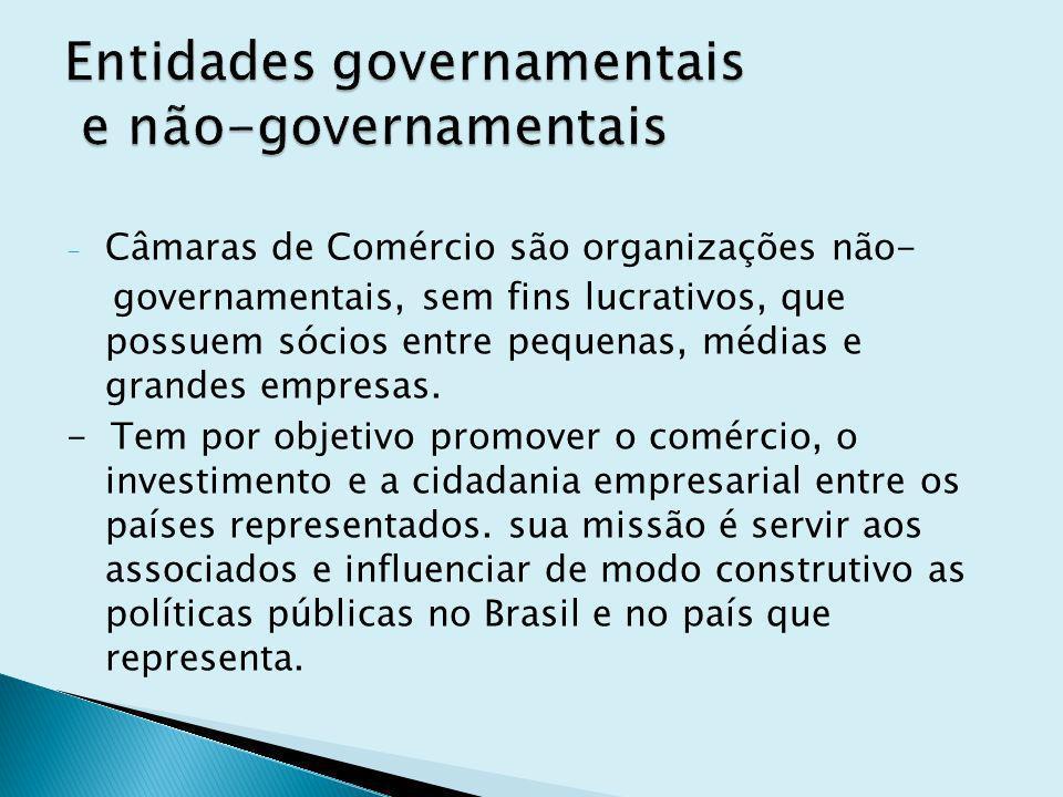 - Câmaras de Comércio são organizações não- governamentais, sem fins lucrativos, que possuem sócios entre pequenas, médias e grandes empresas. - Tem p