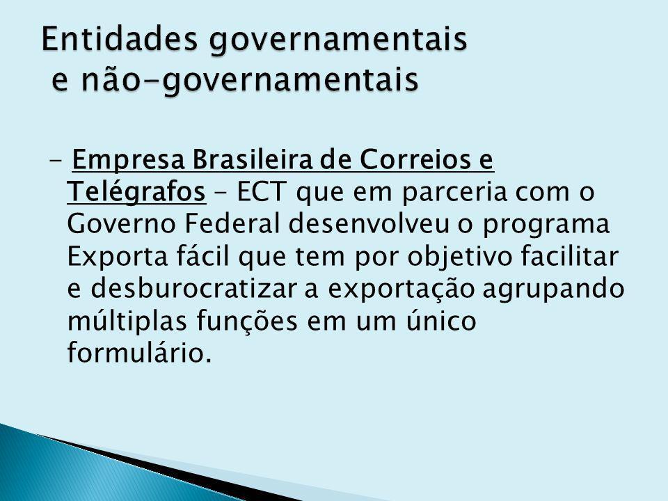 - Empresa Brasileira de Correios e Telégrafos - ECT que em parceria com o Governo Federal desenvolveu o programa Exporta fácil que tem por objetivo facilitar e desburocratizar a exportação agrupando múltiplas funções em um único formulário.