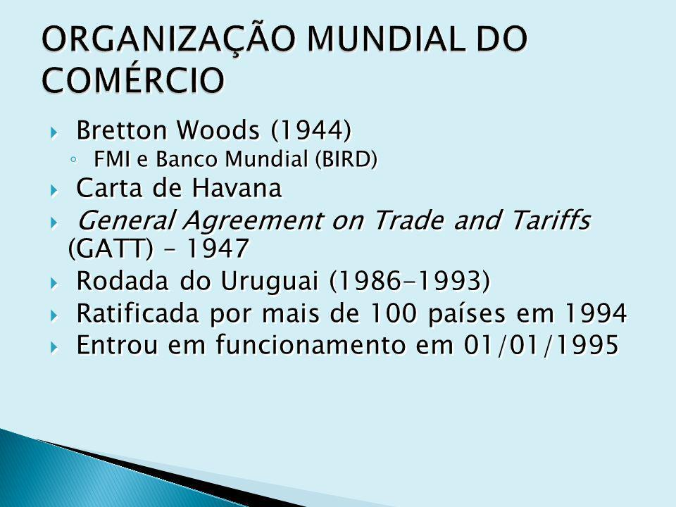 Bretton Woods (1944) FMI e Banco Mundial (BIRD) Carta de Havana General Agreement on Trade and Tariffs (GATT) – 1947 Rodada do Uruguai (1986-1993) Rat
