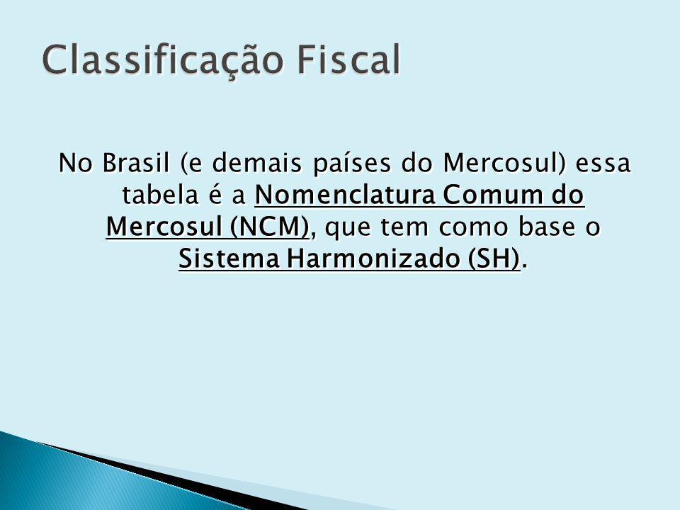 No Brasil (e demais países do Mercosul) essa tabela é a Nomenclatura Comum do Mercosul (NCM), que tem como base o Sistema Harmonizado (SH).