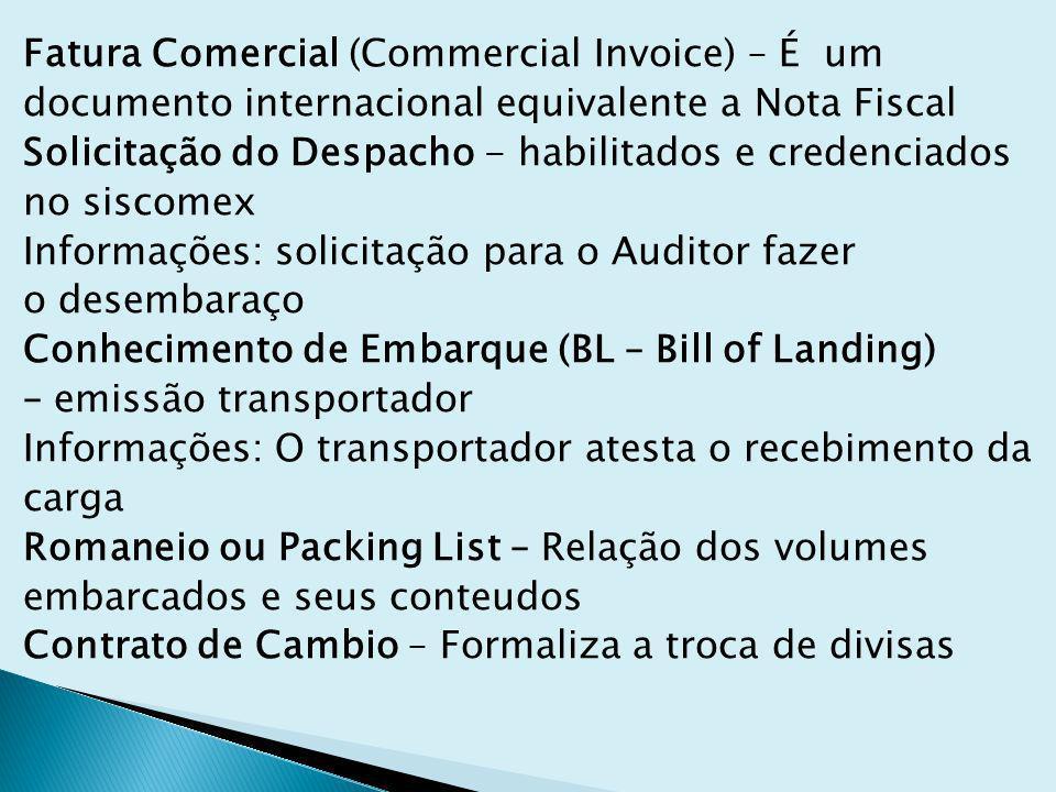 Fatura Comercial (Commercial Invoice) – É um documento internacional equivalente a Nota Fiscal Solicitação do Despacho - habilitados e credenciados no