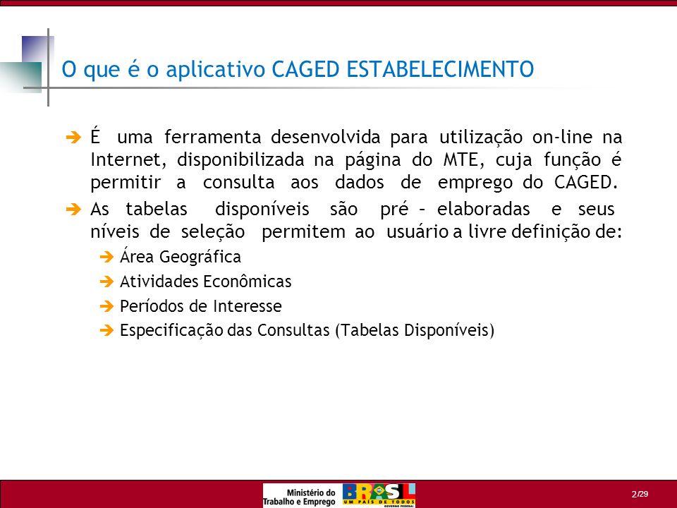 /29 3 Total de Estabelecimentos Declarantes Total de estabelecimentos que declararam o CAGED no mês de referência.