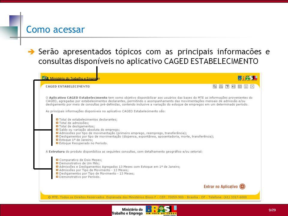 /29 20 Para o exemplo 1, vamos utilizar o exercício abaixo, seguindo os seguintes critérios de seleção: 2 2 Continua Faça um comparativo dos meses de Jan/2006 com Jan/2007, na Meso Região Agregada de Curitiba por grande Setor IBGE.