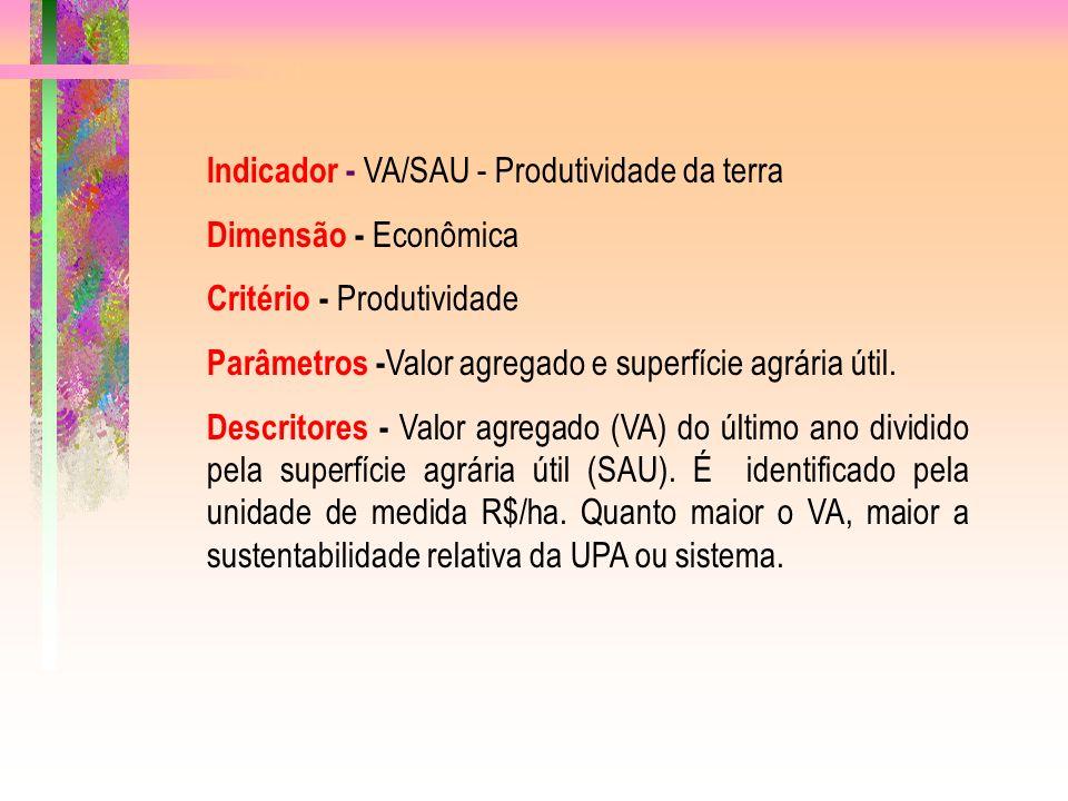 Indicador - VA/SAU - Produtividade da terra Dimensão - Econômica Critério - Produtividade Parâmetros - Valor agregado e superfície agrária útil.
