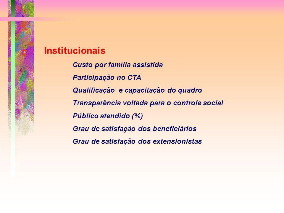 Institucionais Custo por família assistida Participação no CTA Qualificação e capacitação do quadro Transparência voltada para o controle social Público atendido (%) Grau de satisfação dos beneficiários Grau de satisfação dos extensionistas