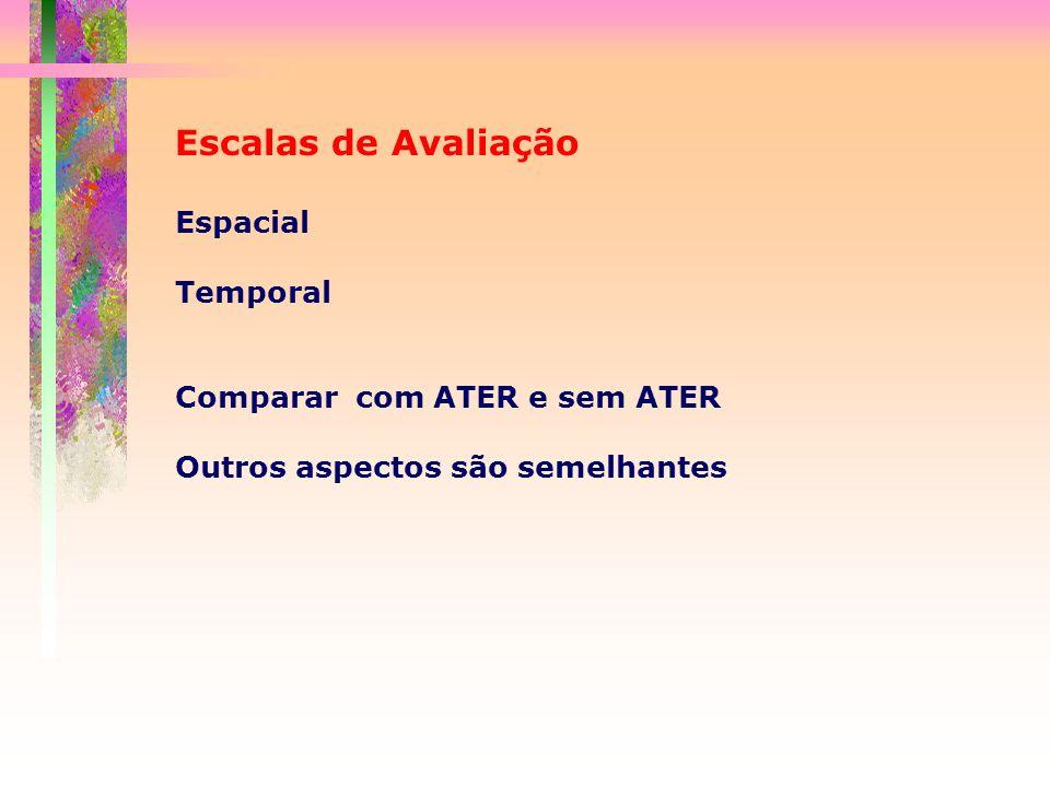 Escalas de Avaliação Espacial Temporal Comparar com ATER e sem ATER Outros aspectos são semelhantes