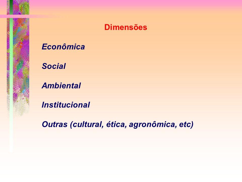 Dimensões Econômica Social Ambiental Institucional Outras (cultural, ética, agronômica, etc)