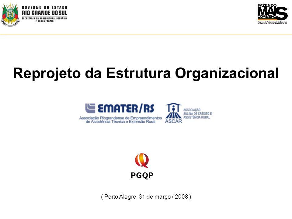 Principais objetivos do projeto de Reestruturação da EMATER-RS: Fortalecimento das ações de Assistência Técnica e Extensão Rural; Readequação e valorização do quadro funcional; Racionalização das despesas de custeio e de investimento; Desenvolvimento de modelo de gestão com foco em resultado.